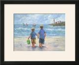 Two Little Beach Boys Walking