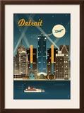 Detroit  Michigan - Retro Skyline