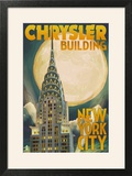 Chrysler Building and Full Moon - New York City  NY