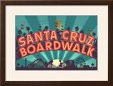 Santa Cruz  California - Beach Boardwalk Sign at Night