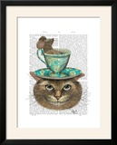 Cheshire Cat with Cup on Head