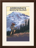 Adirondack Mountains  New York - Hiker and Mountain