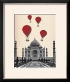 Taj Mahal and Red Hot Air Balloons