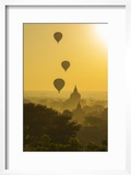 Myanmar Bagan Hot Air Balloons Rising over the Temples of Bagan