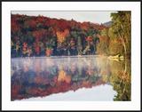 New York  Adirondack Mts  Sugar Maples and Fog at Heart Lake in Autumn