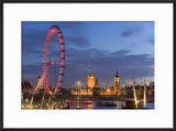 Parliament  London Eye and Jubilee Bridge on River Thames  London  UK