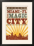Miami  Florida - Skyline and Sunburst Screenprint Style
