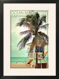 Ocean Beach  California - Lifeguard Shack and Palm