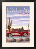 Arizona - Route 66 - Corvette with Red Rocks