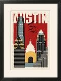 Austin  Texas - Woodblock