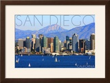 San Diego  California - Mountains and Sailboats