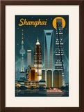 Shanghai  China - Retro Skyline