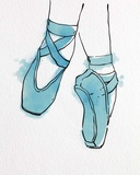 Ballet Shoes En Pointe Blue Watercolor Part II