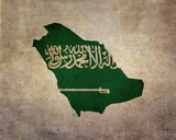 Map with Flag Overlay Saudi Arabia Reproduction d'art par Take Me Away
