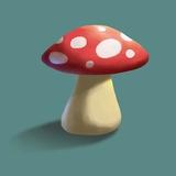 Mushroom on Teal Background Part I