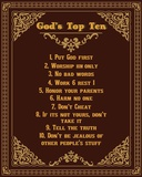 God's Top Ten Brown and Gold Design