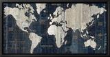 Old World Map Blue Tableau sur toile encadré par Hugo Wild