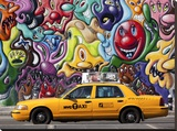 Taxi and mural painting in Soho  NYC