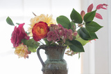 Roses And Greens In Speckled Vase 1