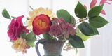 Roses And Greens In Speckled Vase 2