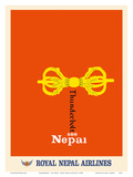 See Nepal - Buddhist Vajra  Dorje - Royal Nepal Airlines