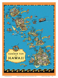 Summer Fun in Hawaii Map - Hawaii Tourist Bureau
