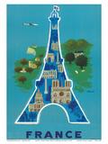 Tour Eiffel, Paris (Poster, Monuments, Vintage) Reproduction d'art par Bernard Villemot