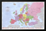 Carte politique de l'Europe Poster en laminé encadré