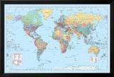World Map 2 Poster en laminé encadré