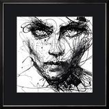 In Trouble, She Will - Malgré les ennuis, elle. (Art graphique noir et blanc, Résilience, Volonté) Reproduction encadrée par Agnes Cecile