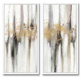 Falling Gold Leaf Set Composition artistique avec cadres
