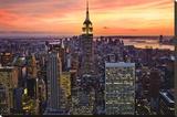 New York City (Empire State Building  Sunset) Art Poster Print