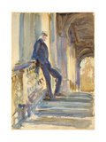 Sir Neville Wilkinson on the Steps of the Palladian Bridge at Wilton House  1904-5