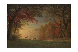 Indian Sunset: Deer by a Lake  c1880-90
