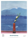 Mont Fuji et fleurs Reproduction d'art par David Hockney