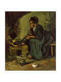 Peasant Woman Cooking by a Fireplace  1885