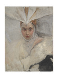 Woman with Osprey Headdress and White Fur Collar  1897