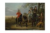 Equestrian Portrait of Cornelis and Michiel Pompe van Meerdervoort with Tutor & Coachman  c1652-53