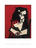 Jacqueline à la mantille, fond rouge Reproduction d'art par Pablo Picasso