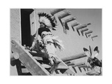 Dance San Ildefonso Pueblo New Mexico 1942 Two Indians In Headdress Ascending Stairs To House 1942