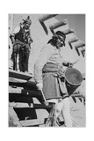 Indian Descending Wooden Stairs With Drum  Dance San Ildefonso Pueblo New Mexico 1942