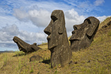 Moai Stone Statue Heads  At The Rapa Nui Quarry  Base Of Rano Raraku Volcano Easter Island  Chile