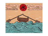 Wavy Sea Landscape Depicting Boat with Paddles or Oars down Sky Birds Clouds Sun and Japanese Water