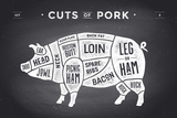 Cut of Meat Set Poster Butcher Diagram  Scheme and Guide - Pork Vintage Typographic Hand-Drawn On
