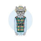 Hipster Cat Boy with Photo Camera  Furry Art Illustration  Fashion Animals