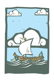 Woodcut Style Ancient Greek Galley with Oars and Sail at Sea with Sky and Clouds