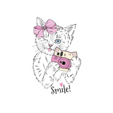 Cute Kitty Girl with Photo Camera  Hand Drawn Graphic  Animal Illustration