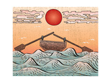 Wavy Sea Water Landscape Depicting Boat with Paddles or Oars down Sky Clouds and Sun Etching Illusi