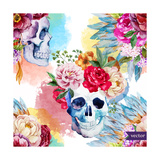 Watercolor  Skull  Flowers  Indian  Boho  Ethnic  Pattern  Wallpaper  Background