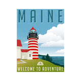 Retro Style Travel Poster or Sticker United States  Maine Lighthouse